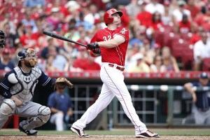 Jay Bruce hits a three-run home run in the sixth inning of a game against the San Diego Padres at Great American Ball Park on June 7, 2015 (Joe Robbins/Getty Images)