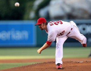 CJ Wilson delivers a pitch during a game against the Boston Red Sox at Angel Stadium on July 17, 2015 (Stephen Dunn/Getty Images)