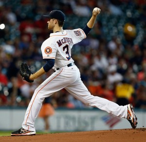 Collin McHugh delivers a pitch during the first inning of a game against the Boston Red Sox at Minute Maid Park on July 22, 2015 (Bob Levey/Getty Images)