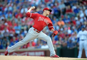 Garrett Richards delivers a pitch during the first inning of a game against the Texas Rangers at Globe Life Park on July 3, 2015 (Rick Yeatts/Getty Images)
