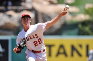 Andrew Heaney delivers a pitch during the first inning of a game against the Texas Rangers at Angel Stadium on July 26, 2015 (Jonathan Moore/Getty Images)