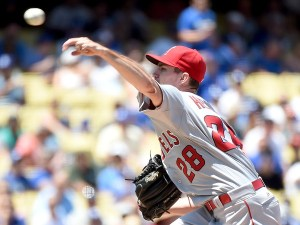 Andrew Heaney delivers a pitch during the second inning of a game against the Los Angeles Dodgers at Dodger Stadium on August 1, 2015 (Harry How/Getty Images)