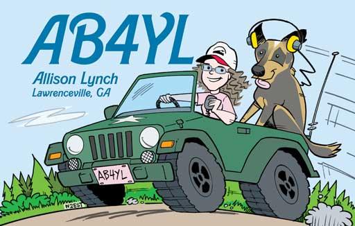 AB4YL ham radio cartoon QSL by N2EST