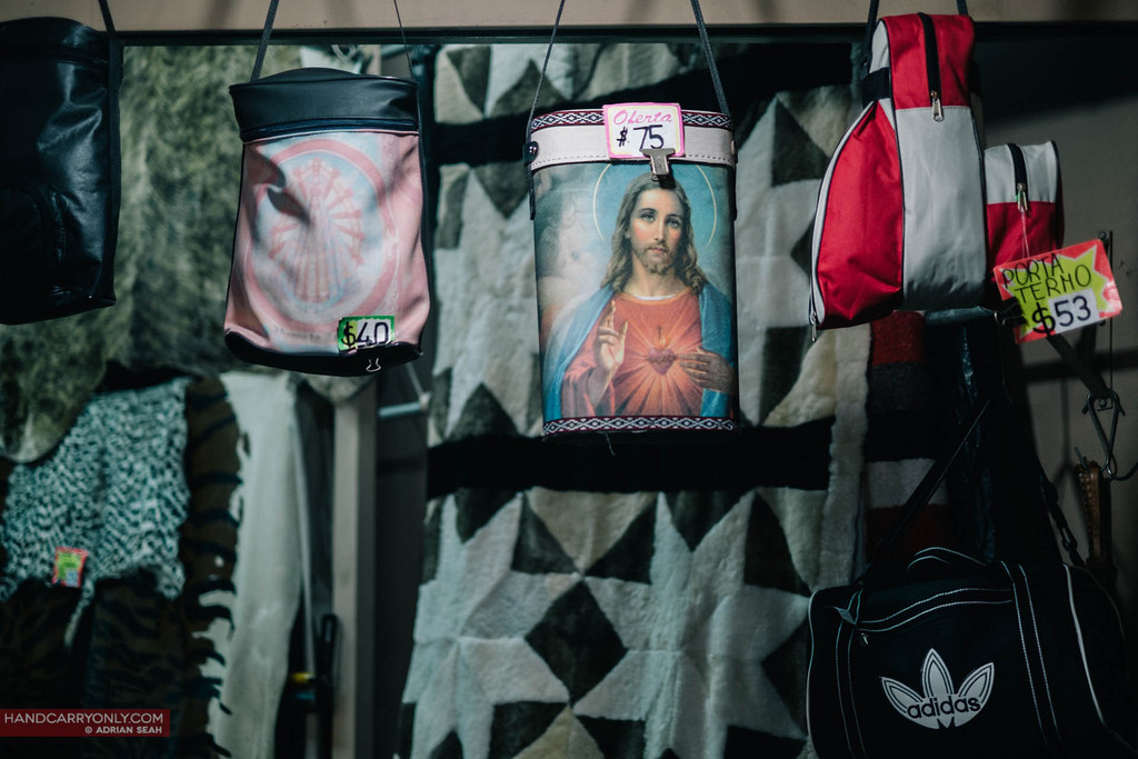 sacred heart of jesus on mate bag, buenos aires, argentina