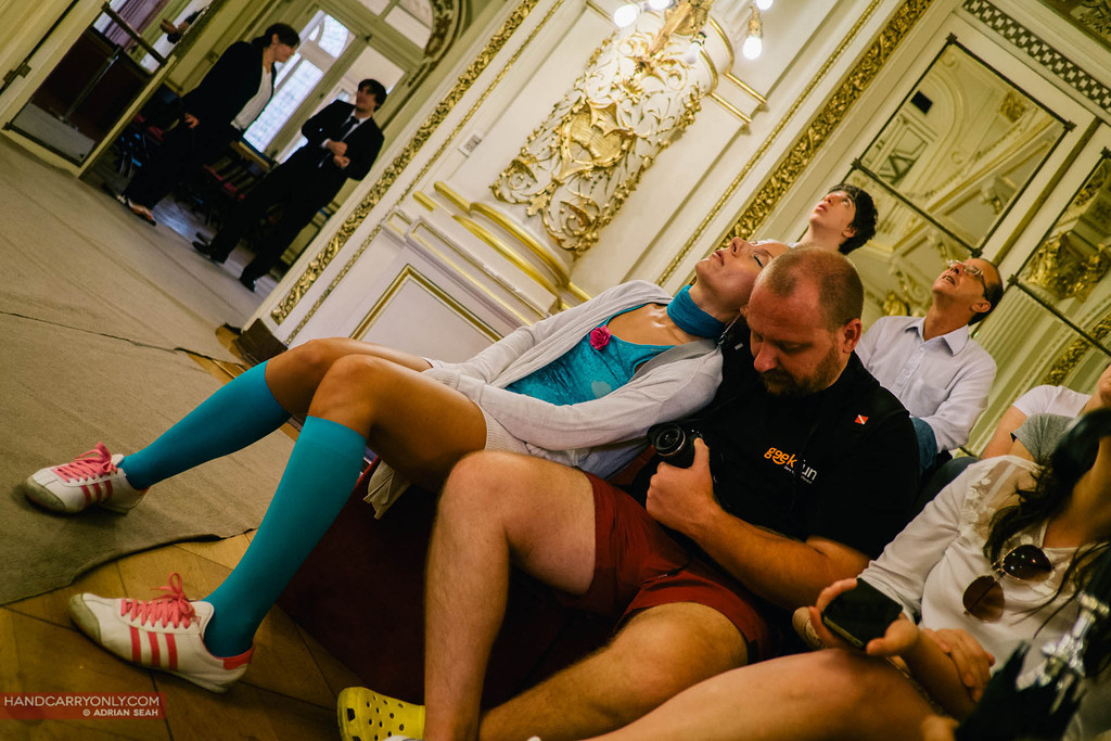 Russian tourists fall asleep during an tour of Casa Rosada, buenos aires, argentina