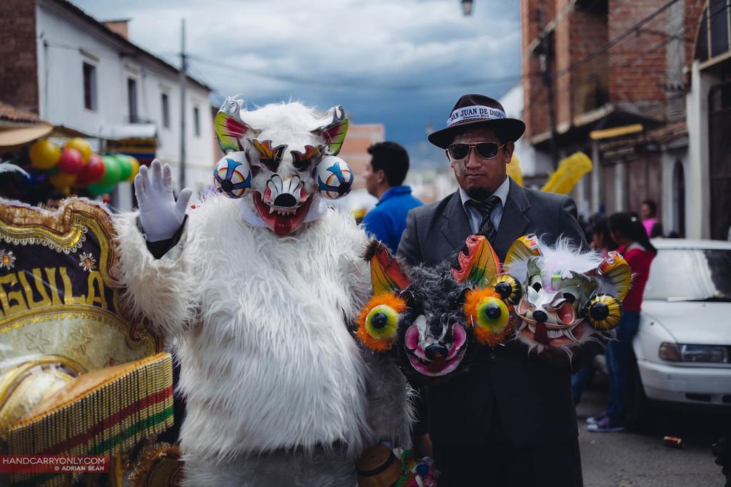 men in strange outfits parade sucre bolivia