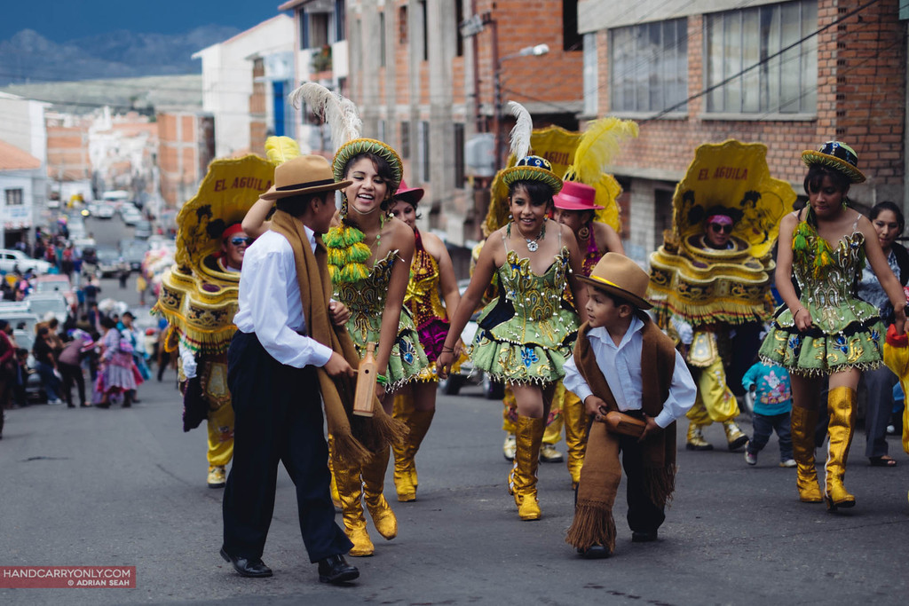 procession going through town sucre bolivia