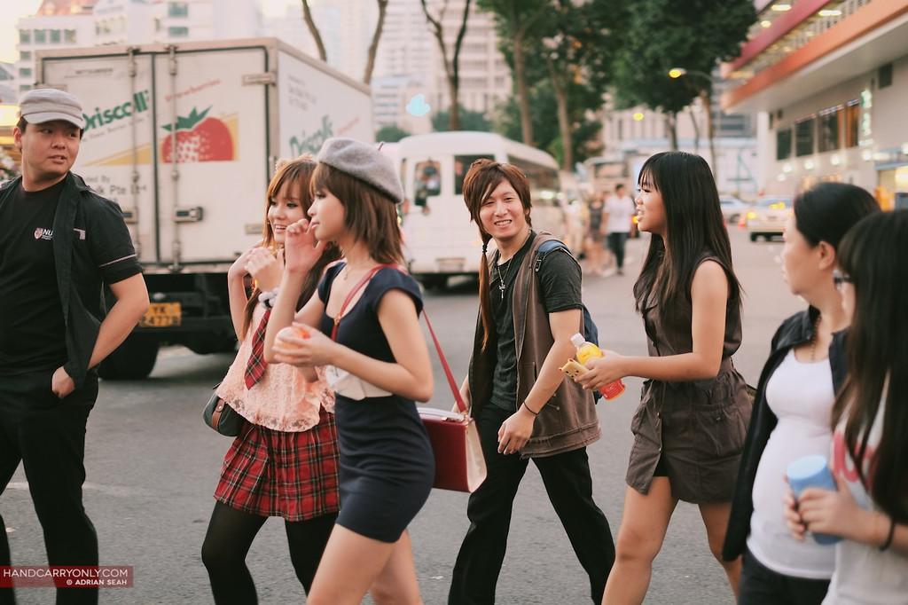 cosplay kids crossing the road