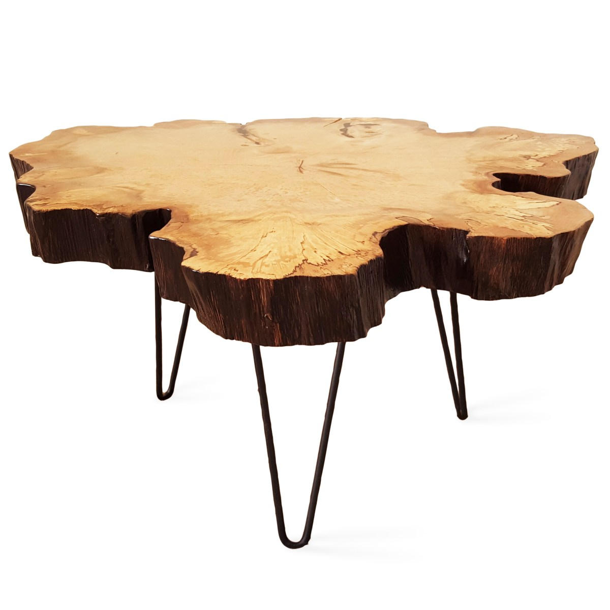 Spalted Hornbeam Slice Coffee Table With Hairpins Handmade In Brighton