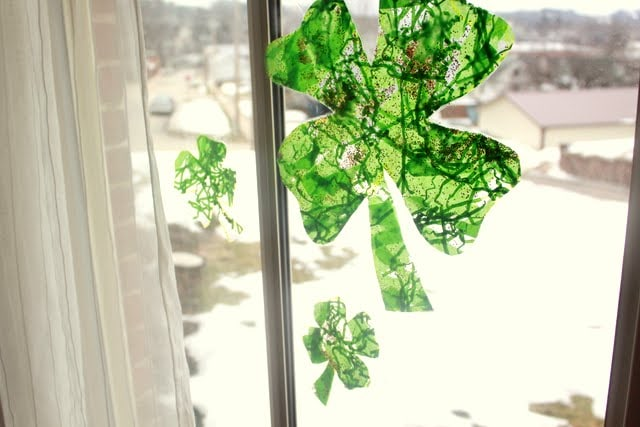 Shamrock Window Craft for St Patrick's Day