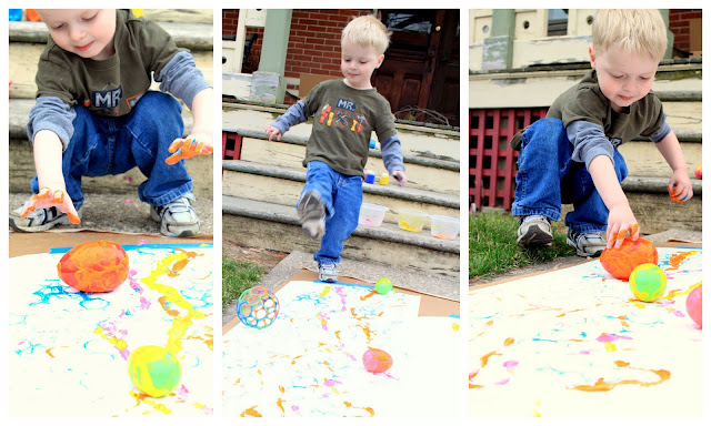 Painting with Eggs & Rolling Balls