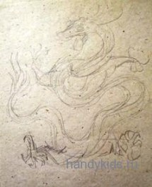 Китайский дракон,парящий в облаках