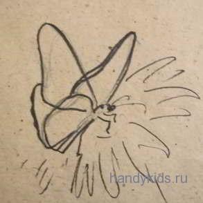 Рисуем сидящую бабочку поэтапно