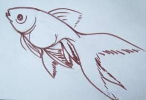 Как нарисовать золотую рыбку