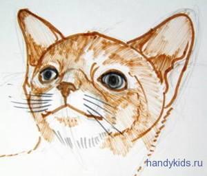 Как нарисовать мордочку котика.