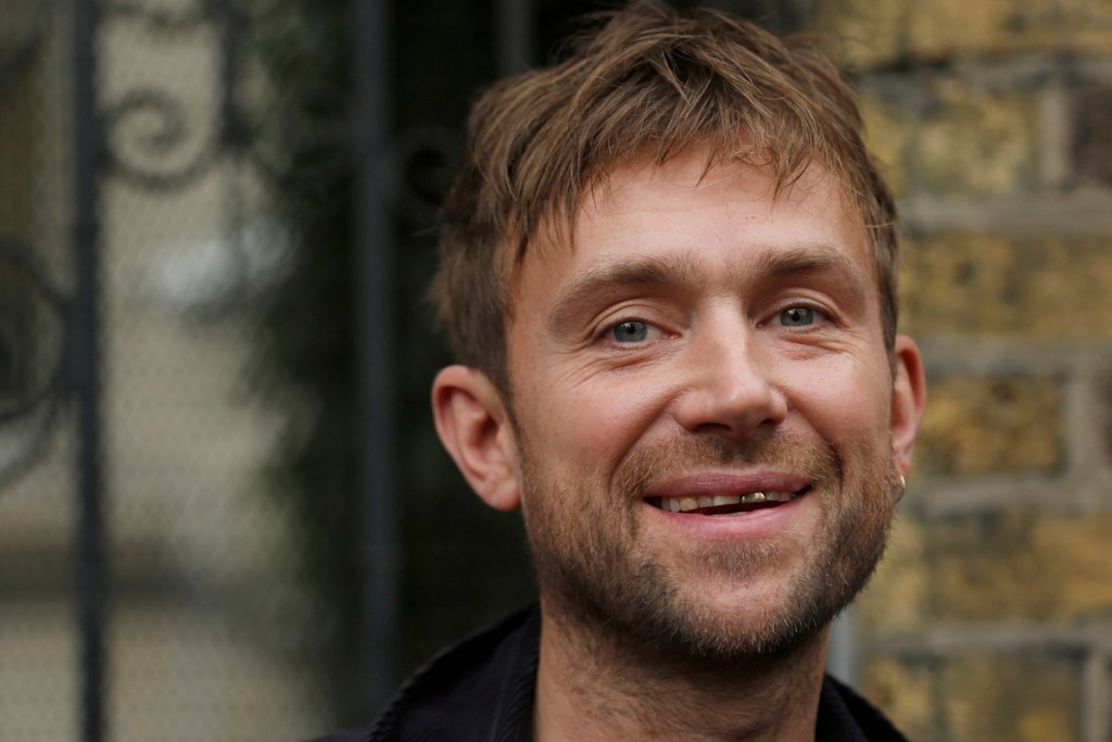 Musician Damon Albarn protests against the detention in Russia of Greenpeace activist Frank Hewitson, outside the Russian Embassy in London