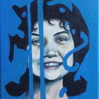 "Cheerleader 1964, oil on canvas, 9x12,"" 2015"