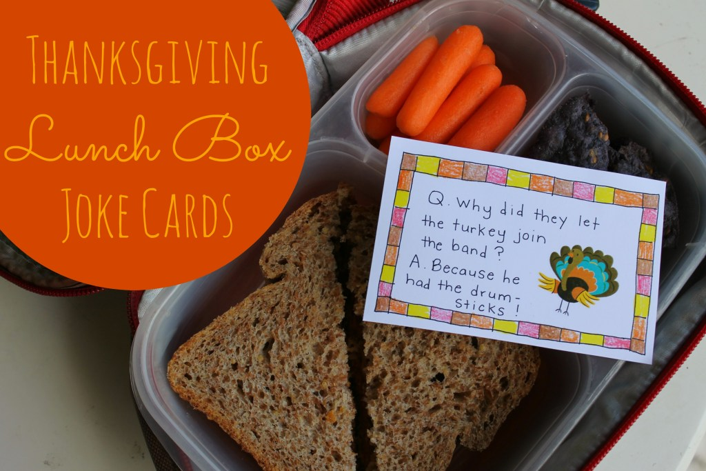 Thanksgiving Lunch Box Notes - Stick them in your kid's lunchpail or put one under each family member's Thanksgiving plate and read them throughout dinner!