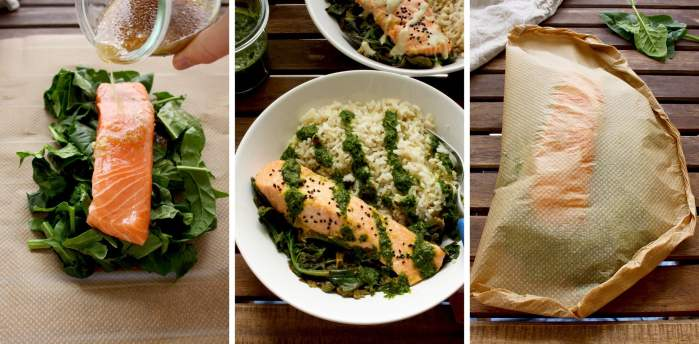 easy parchment salmon with spinach parchment salmon with spinach or ...