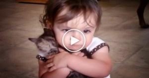 Little Girl Really Loves Her Tiny Sweet Kitty