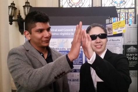 Team MBRP Cezanne Bies and Zain Bin Khalid swimming circles around NYC's brightest on March 6's NYC Science and Engineering Fair.