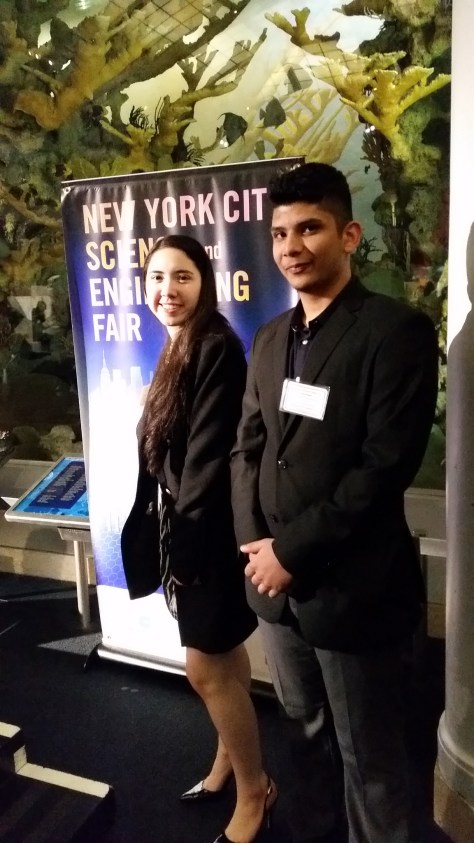 Cezanne Bies and Zain Bin Khalid present at the Finals round of the NYC Science and Engineering Fair. They eventually went on to win 3rd prize.