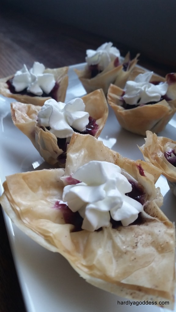 Homemade filo cups with no bake blueberry pie filling