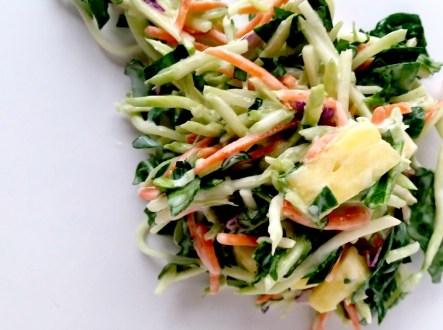No Mayo Pineapple Broccoli Slaw