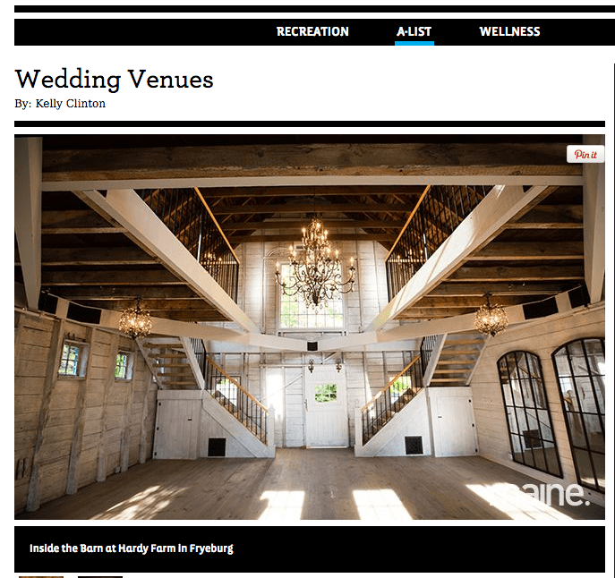 Maine magazine 39 s a list wedding venue hardy farm maine for Wedding venues in maine