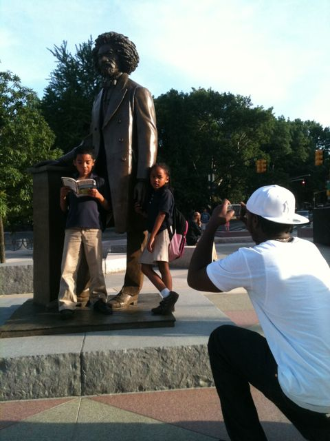 Frederick Douglass Circle in Harlem opens, people already visiting