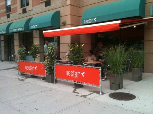 Sidewalk seating available at Nectar in Harlem