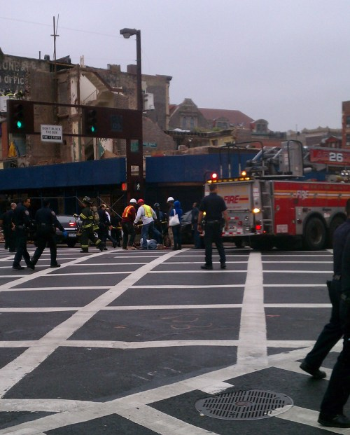 Harlem World covers breaking story on building collapse on 125th Street