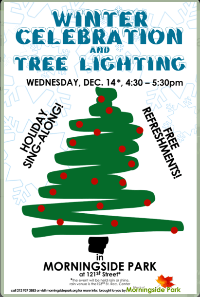 Tree Lighting Today In Morningside Park In Harlem