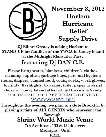 Harlem Hurricane Relief   November 8, 2012