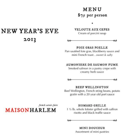 Screen Shot 2012 12 31 at 12.26.57 PM What are you doing New Years Eve? The Harlem Menu...