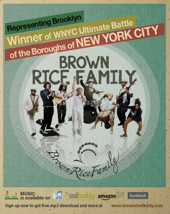 BRF band image 813x1024 WAN LUV at RED ROOSTER in Harlem featuring BROWN RICE FAMILY