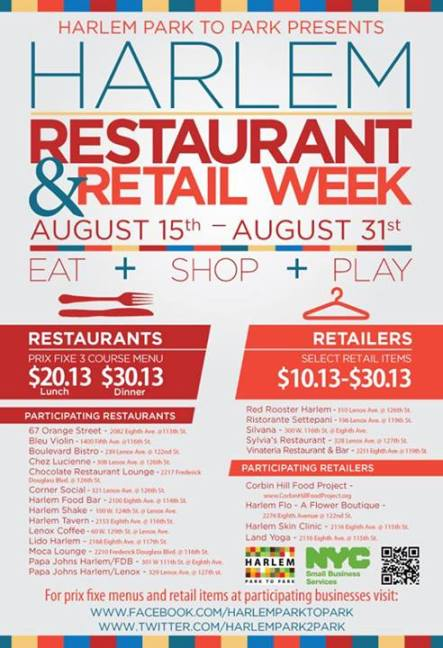 Harlem Restaurant & Retail Week Aug 15th   31st