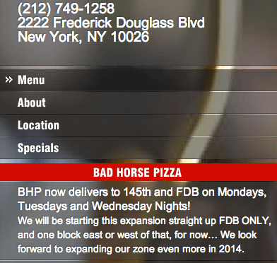 bad horse pizza via harlemcondolife twitter: harlemhcl