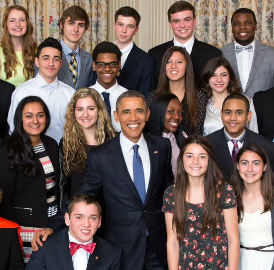President Barack Obama Jared Collazo (no tie) Chazz Johnson (glasses) Janaya Nicholson (pink blouse) Daviid Maxwell (lavender tie) 2015 winners of White House Student Film Festival official White House photo
