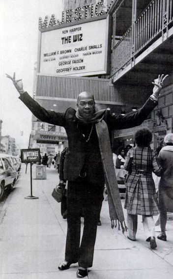 Geoffrey Holder outside the Majestic Theater