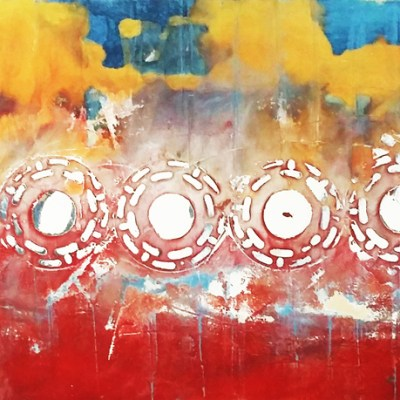 Image: painting of sunset phases.
