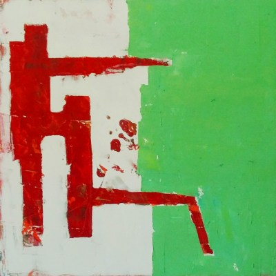 Image: painting of red asian gate against green and white.