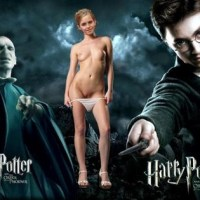 Hermione is giving a hot striptease for Harry and Voldemort.
