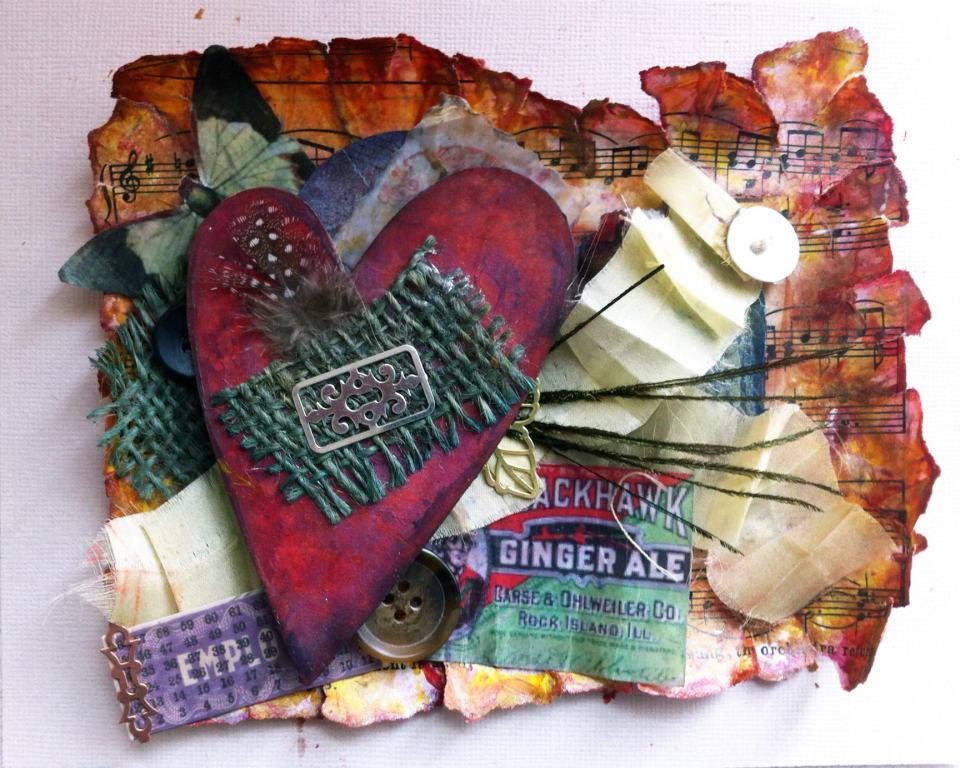encaustic heart collage