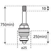 long stem wind down tap valve dimensions