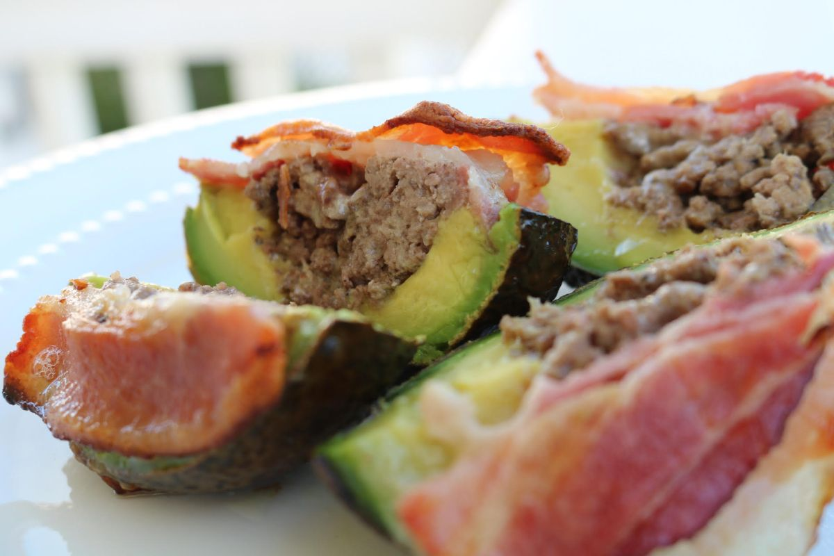 Venison and Cheese Stuffed Avocados with Bacon