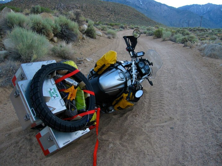 Looking for camp outside Bishop, California, I drop the bike in deep sand. It's hot, I'm tired, and this is not how I want to spend my evening.