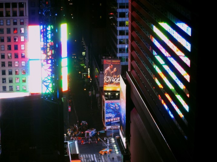 The view east to Times Square through all the glass of the condo.