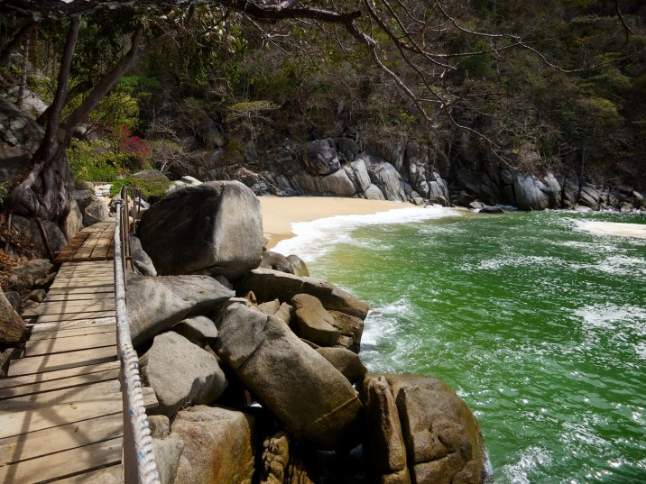 The trail ends at this secluded beach cove.