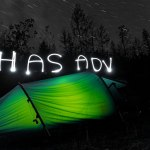 I try light painting over my tent. It takes three tries to get the letters even close to legible.
